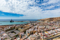 Panoramic view of Almeria old town and harbour. View of Almeria (Almería) old town and port from the castle (Alcazaba of Almeria), Spain Royalty Free Stock Photos