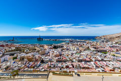 Panoramic view of Almeria old town and harbour. View of Almeria (Almería) old town and port from the castle (Alcazaba of Almeria), Spain Stock Photo