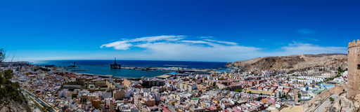 Panoramic view of Almeria old town and harbour Royalty Free Stock Images