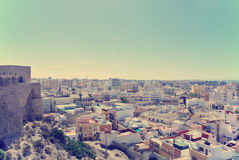 Panoramic view on Almeria from the top of Alcazaba fortress Royalty Free Stock Images