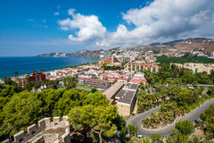 Panoramic view of Almuñécar Almunecar on a beautiful day Stock Photos