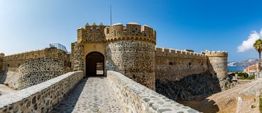 Panoramic view of Almuñécar (Almunecar) castle. Panoramic view of Almuñécar (Almunecar) castle on a beautiful day, Spain Stock Photo