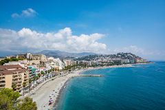 Panoramic view of Almuñécar (Almunecar) beach Royalty Free Stock Photography