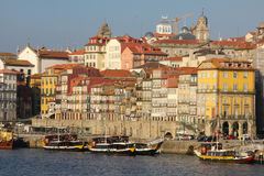 Panoramic view along the river. Porto. Portugal stock photos