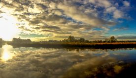 Trent River Panoramic. A panoramic view along the Trent River, Gainsborough, Lincolnshire, UK Royalty Free Stock Photo
