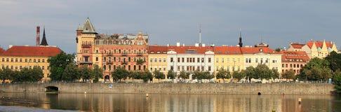 Panoramic view along the Vtlava river stock image