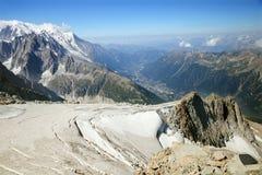 Panoramic view of Alpine glacier Stock Photos