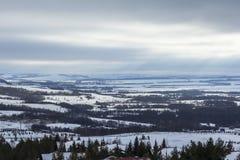 Panoramic view of the alpine hut in the ski resort Royalty Free Stock Image