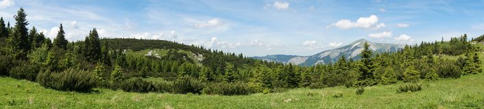 Panoramic view of alpine meadow in Austrian Alps Royalty Free Stock Images