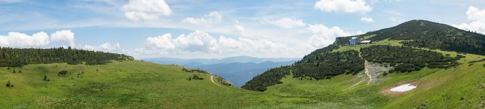 Panoramic view of alpine meadow in Austrian Alps Stock Image