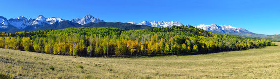 Panoramic view of the alpine scenery of Colorado during foliage Royalty Free Stock Image