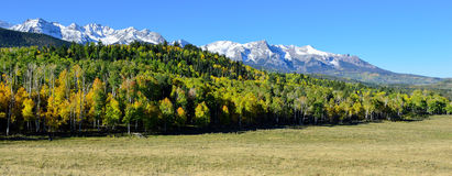 Panoramic view of the alpine scenery of Colorado during foliage Royalty Free Stock Photo