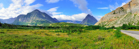 Panoramic view of the alpine scenery of the Glacier National Park Stock Photos