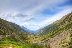 Panoramic view of alpine valley. Stock Image