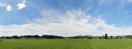 Panoramic view of an alpine village, south Bavaria. Beautiful pe royalty free stock photos