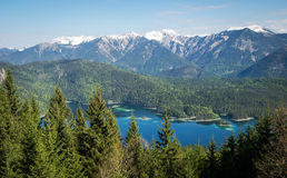 Panoramic view of Alps and Eibsee Lake, Bavaria Stock Photos