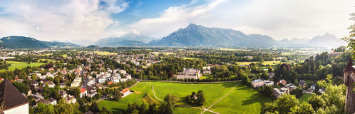 Panoramic view of Alps and Salzburg from Hohensalzburg, Austria Stock Image
