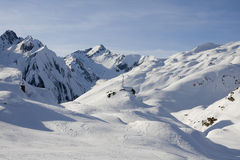 Panoramic view of the alps in winter Stock Photo