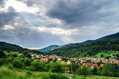 Panoramic view of Alsace mountains Royalty Free Stock Photo