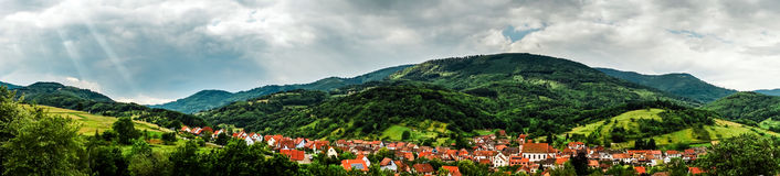 Panoramic view of Alsace mountains Stock Image