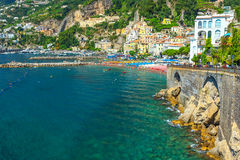 Panoramic view of Amalfi,beach and harbor,Italy,Europe Royalty Free Stock Image