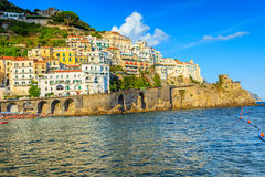 Panoramic view of Amalfi and the beach,Italy,Europe Stock Images