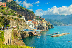Panoramic view of Amalfi and harbor,Italy,Europe royalty free stock image