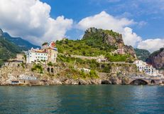 Panoramic view of Amalfi Mediterranean coast, small town with multicolor houses in south of Italy, Gulf of Salerno, Campania. View of coastline Amalfi, beach stock images