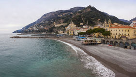 Panoramic view of Amalfi seacoast in winter, Italy Stock Photos