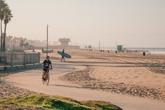 Panoramic view of an amazing artistic Venice beach. District in Los Angeles. USA Stock Images