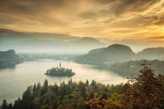 Panoramic view of amazing Bled Lake in Slovenia in autumn time w royalty free stock photography