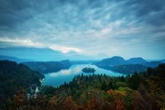 Panoramic view of amazing Bled Lake in Slovenia in autumn time w royalty free stock images