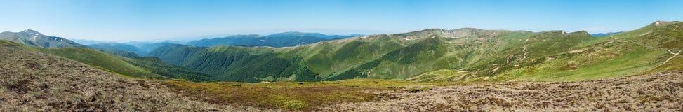 Panoramic view of amazing spring mountains Stock Photos