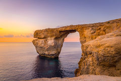 Panoramic View of Amazing Sunset over the Sea near Azure Window using as Wallpaper or Nature Background, Gozo, Malta Royalty Free Stock Photo