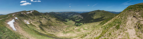 Panoramic view of amazing valley in the spring mountains Royalty Free Stock Photo