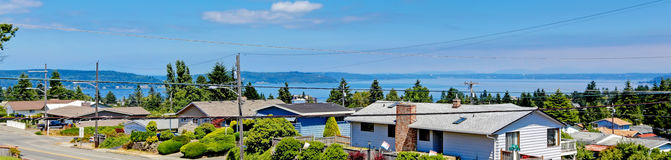Panoramic view of american houses and bay. Tacoma, Washington st Stock Images