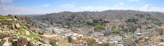 Panoramic view of Amman from one of the hills sorrounding the city Stock Images
