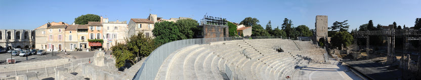 Panoramic view of the amphithater at Arles Stock Image