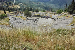Panoramic view of Amphitheater in Ancient Greek archaeological site of Delphi, Greece Stock Images