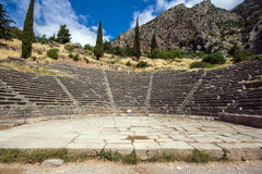 Panoramic view of Amphitheater in Ancient Greek archaeological site of Delphi, Greece Stock Photo