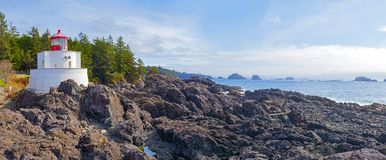 Panoramic view of the Amphitrite Lighthouse in Ucluelet, BC. Panoramic view of the Amphitrite Point Lighthouse located in Ucluelet, Vancouver Island, BC, Canada stock photo