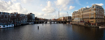 Panoramic view of Amsterdam canal Stock Image