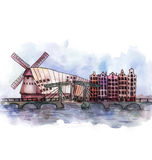 The panoramic view of Amsterdam   watercolor Stock Photos