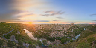 Panoramic view of ancient city and Alcazar on a hill over the Tagus River, Castilla la Mancha, Toledo, Spain Royalty Free Stock Images