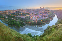 Panoramic view of ancient city and Alcazar on a hill over the Tagus River, Castilla la Mancha, Toledo, Spain Stock Photography