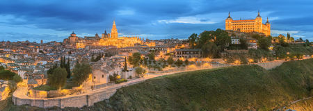 Panoramic view of ancient city and Alcazar on a hill over the Tagus River, Castilla la Mancha, Toledo, Spain stock images