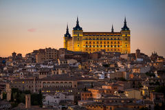 Panoramic view of ancient city and Alcazar on a hill over the Tagus River, Castilla la Mancha, Toledo, Spain. Image Stock Image