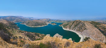 Panoramic view from ancient city of Pergamon to the lake - Turke Stock Photos