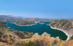 Panoramic view from ancient city of Pergamon to the lake - Turke Royalty Free Stock Images