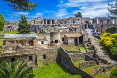 Panoramic view of the ancient city of Pompeii with houses and streets. Pompeii is an ancient Roman city died from the eruption of. Ancient ruins in Pompeii Royalty Free Stock Photo